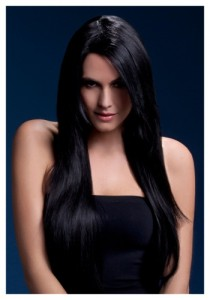 black wig 3 breasted woman